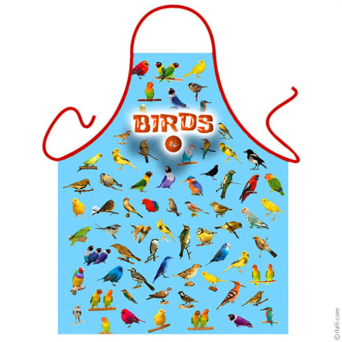 Birds blue apron