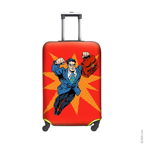 SUITCASE COVER Superhero Businessman