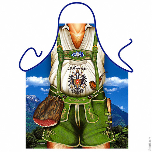 Austrian man green short trousers apron
