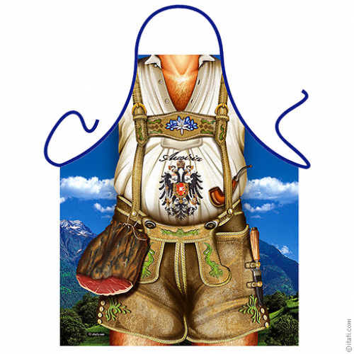 Austrian man brown short trousers apron
