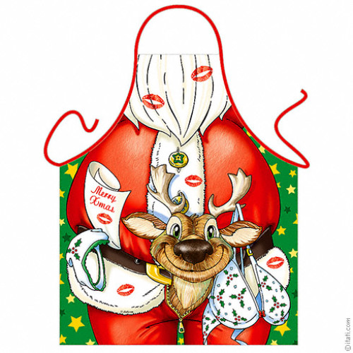 Santa Claus with reindeer apron